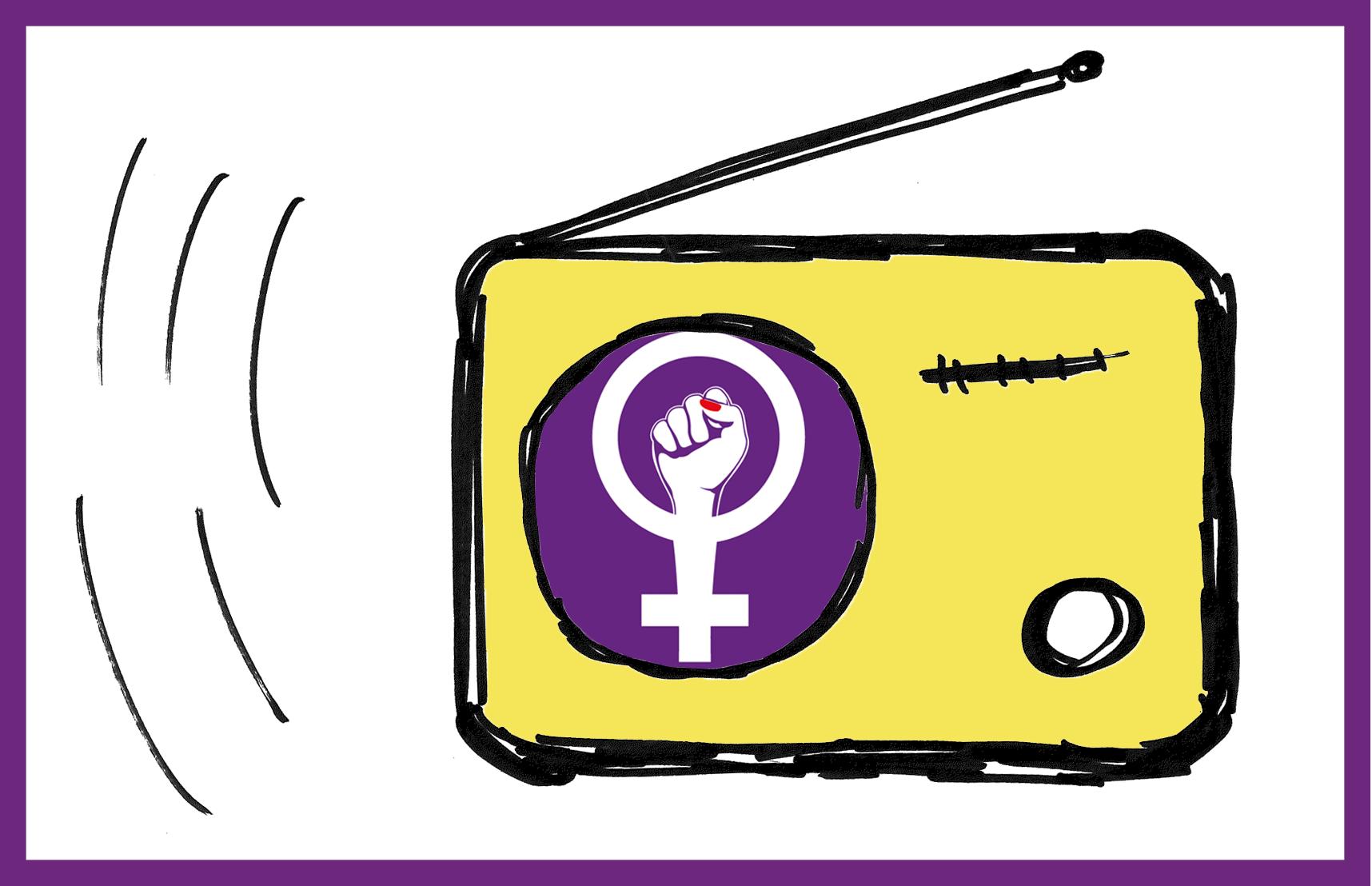 Zeichnung eines Frauen*streik-Radios