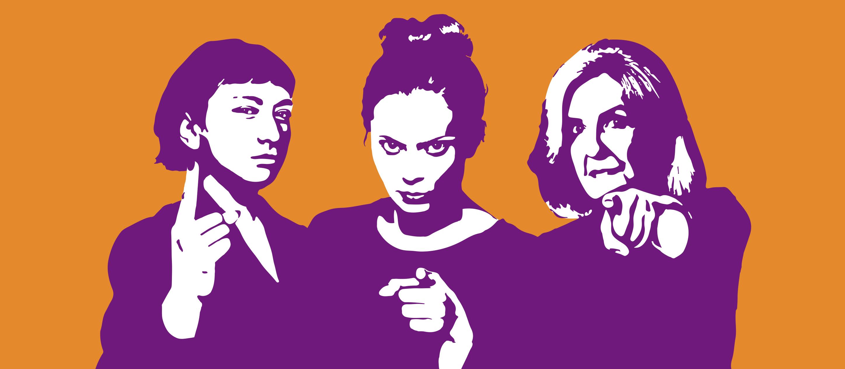 Drei Frauen weisen mit dem Finger auf etwas hin